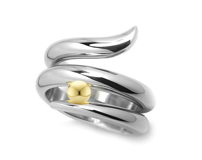Stainless steel & gold Snake shaped ring with gold sphere by Taormina Jewelry