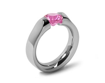 1ct Pink Sapphire Tension Set Ring Comfort Fit Stainless Steel by Taormina Jewelry