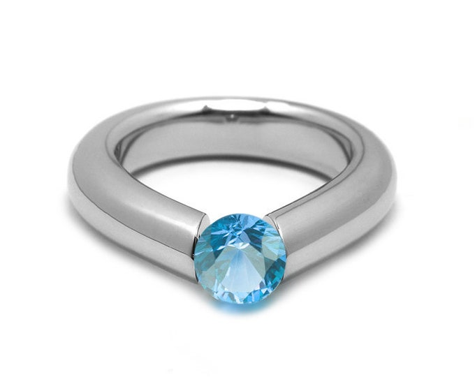 1ct Blue Topaz Engagement Tension High Setting Ring in Stainless Steel