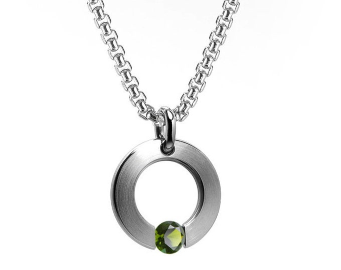 Peridot Tension Set Flat Circle Pendant in Stainless Steel
