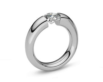 Tension Set Ring White Sapphire Stainless Steel Tapered Engagement