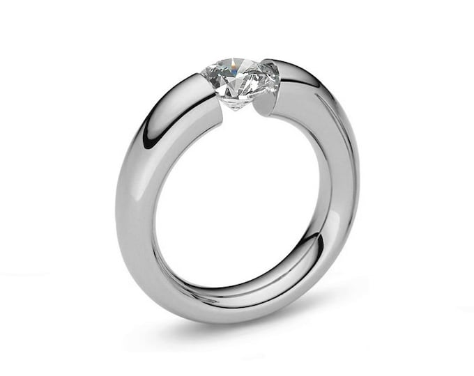 Tension Set Ring Moissanite Stainless Steel Tapered Engagement