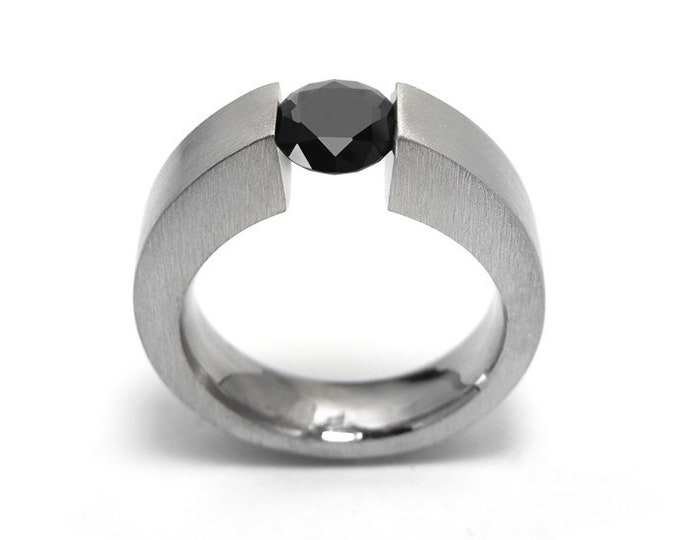 1ct Black Diamond Ring Tension Set Mounting in Stainless Steel by Taormina Jewelry