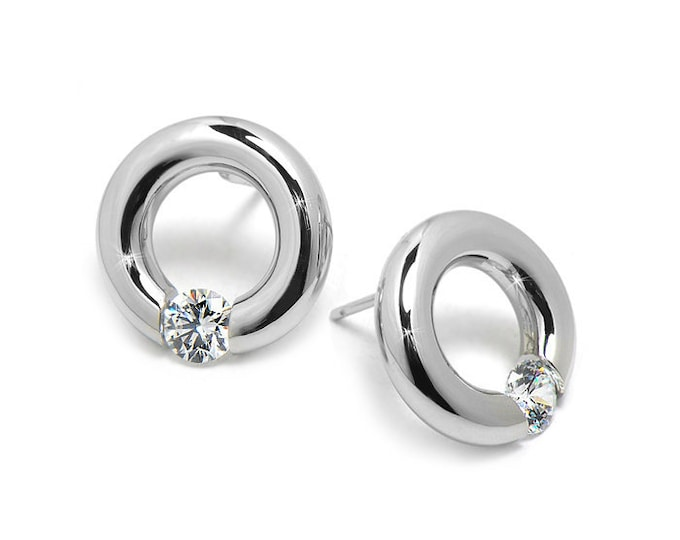 White Sapphire Stud Post Tension Set Circle Earrings in Steel Stainless by Taormina Jewelry