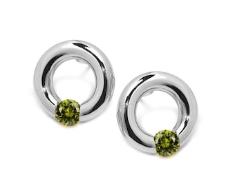 Peridot Stud Post Tension Set Circle Earrings in Steel Stainless by Taormina Jewelry