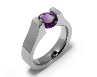 2ct Amethyst High setting Tension Set Engagement Ring by Taormina Jewelry