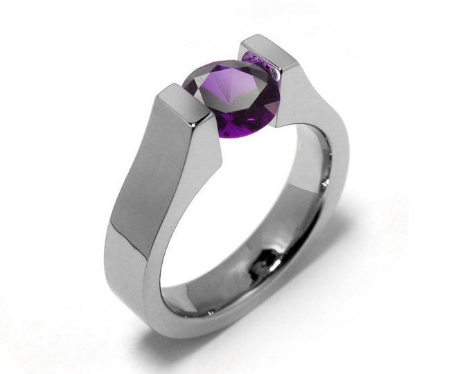 2ct Amethyst High setting Tension Set Engagement Ring