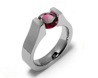 1ct Garnet High setting Tension Set Engagement Ring