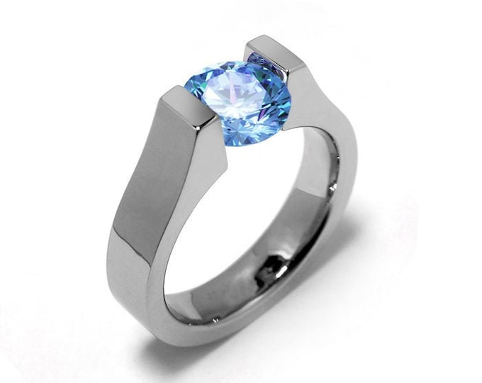 1ct Blue Topaz High setting Tension Set Engagement Ring by Taormina Jewelry