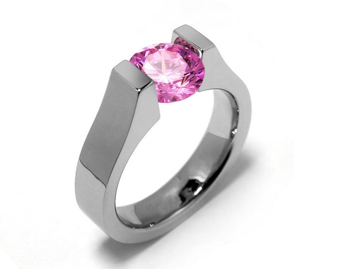1ct Pink Sapphire High setting Tension Set Engagement Ring by Taormina Jewelry