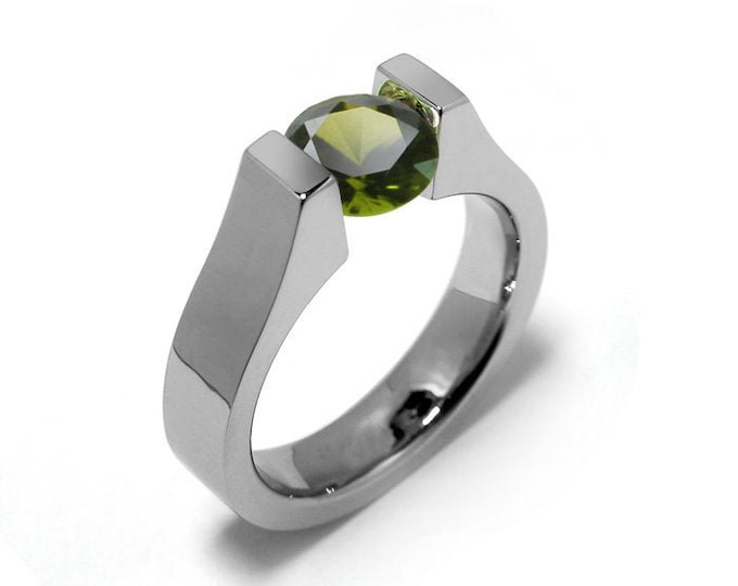 1ct Peridot Ring Tension Set Mounting in Stainless Steel