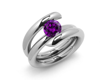 2ct Amethyst High Setting Bypass Tension Set Ring in Stainless Steel