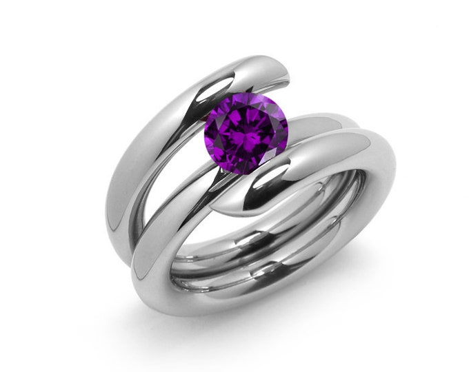 1ct Amethyst High Setting Bypass Tension Set Ring in Stainless Steel
