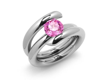 1ct Pink Sapphire High Setting Bypass Tension Set Ring in Stainless Steel