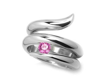 0.50ct Pink Sapphire Tension set Statement Snake shaped Ring in Stainless Steel by Taormina Jewelry