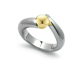 Two Tone Gold and Stainless Steel Tension Set Bypass Ring by Taormina Jewelry
