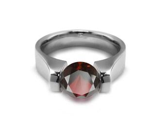 1.5ct Garnet High setting Tension Set Engagement Ring by Taormina Jewelry