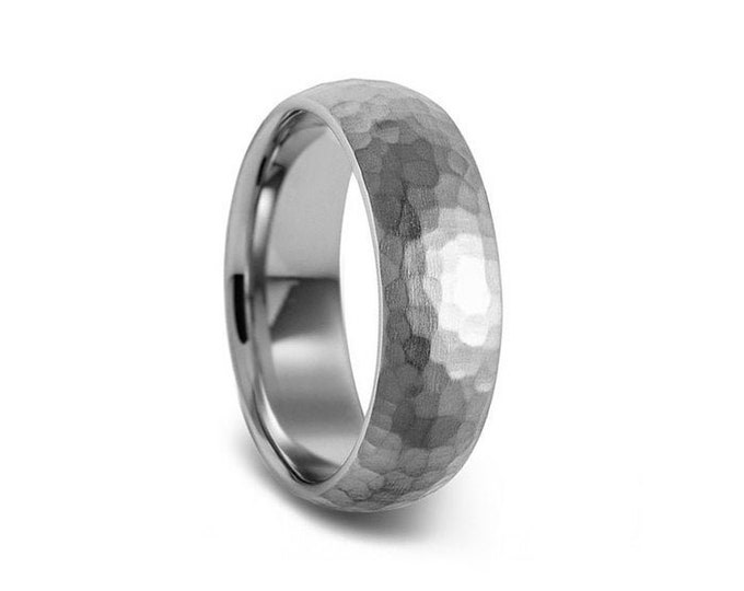 Hammered 4mm 5mm 6mm Stainless Steel Wedding Band Comfort Fit Dome by Taormina Jewelry