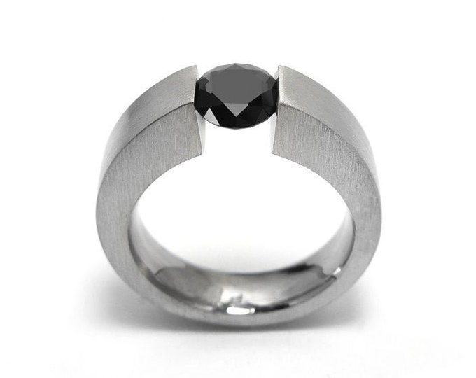 1.5ct Black Diamond Ring Tension Set Mounting in Stainless Steel by Taormina Jewelry