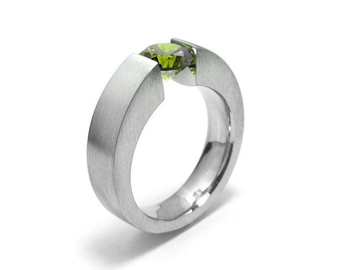 1.5ct Peridot Engagement Ring Tapered Tension Set Steel Modern Style by Taormina Jewelry