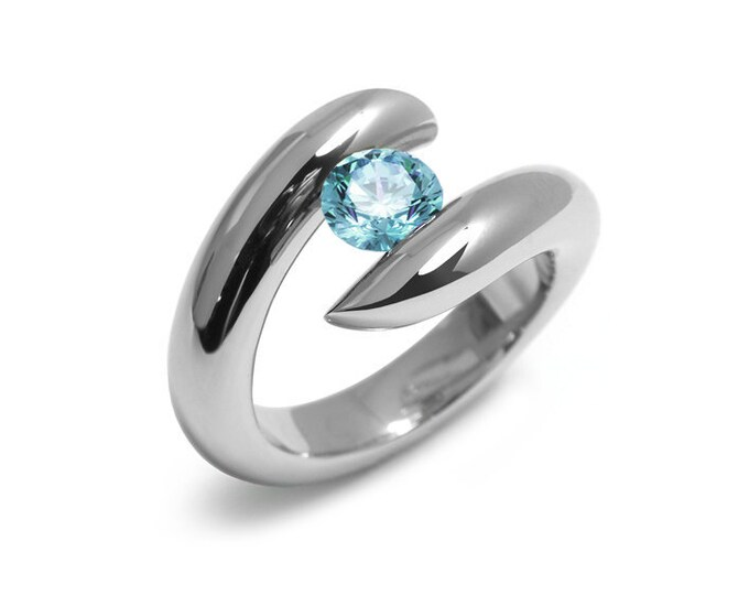 1ct Blue Topaz Ring Bypass Tension Set Mounting in Stainless Steel
