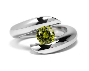 1ct Peridot Ring Bypass Tension Set Mounting in Stainless Steel by Taormina Jewelry