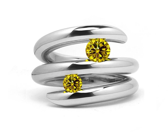 Two Yellow Sapphire double row bypass tension set ring in stainless steel