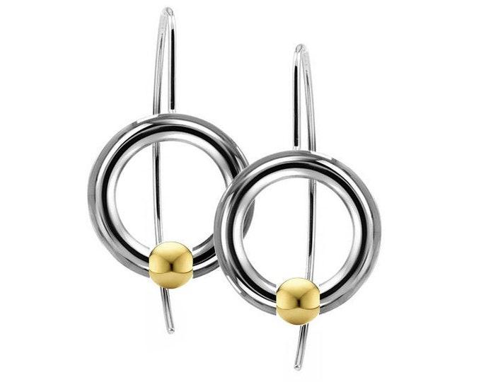 Gold Spheres Tension Set Drop Earrings in Stainless Steel by Taormina Jewelry