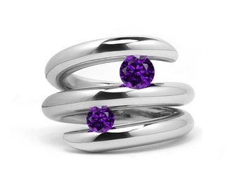 Two Amethyst double row bypass tension set ring in stainless steel