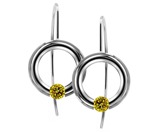 Yellow Sapphire Round Tension Set Drop Earrings in Stainless Steel by Taormina Jewelry