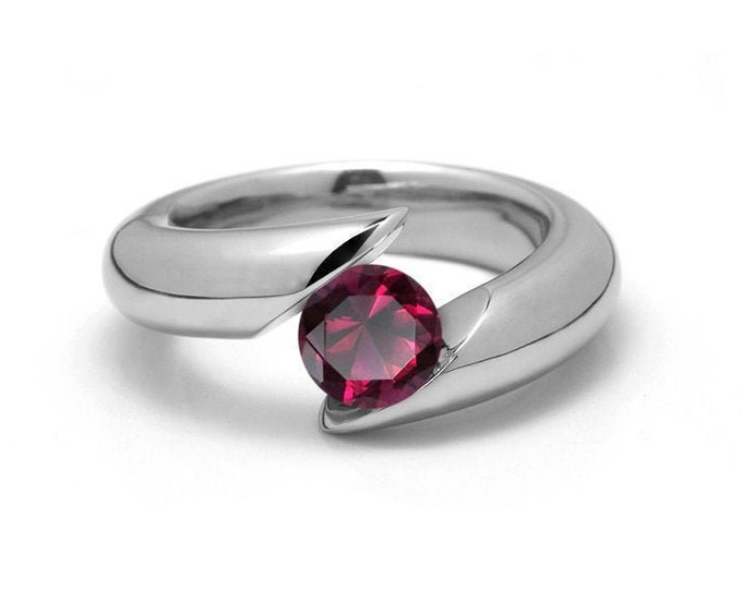 1ct Garnet Bypass Tension Set Ring in Stainless Steel by Taormina Jewelry