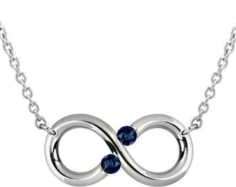 Blue Sapphire Infinity Necklace Tension Set Steel Stainless