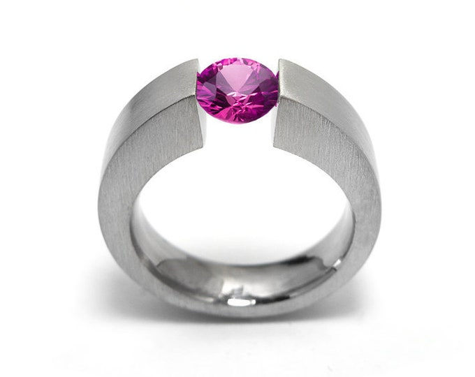 1.5ct Pink Sapphire Men's Two Tone Tension Set ring Modern Style by Taormina Jewelry