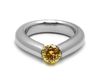 1ct Yellow Sapphire Engagement Tension High Setting Ring in Stainless Steel by Taormina Jewelry