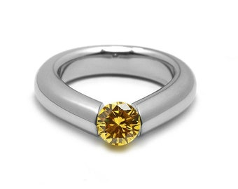 1ct Yellow Sapphire Engagement Tension High Setting Ring in Stainless Steel