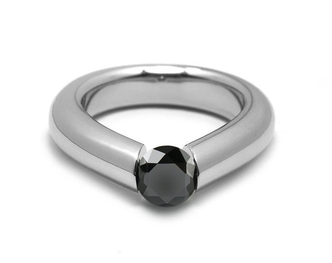 1.5ct Black Diamond Engagement Tension High Setting Ring in Stainless Steel by Taormina Jewelry