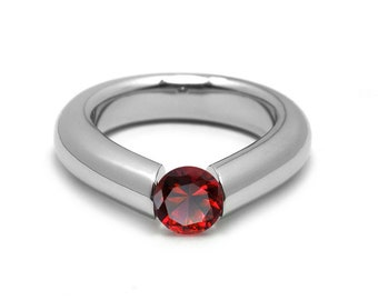 1ct Garnet Engagement Tension High Setting Ring in Stainless Steel