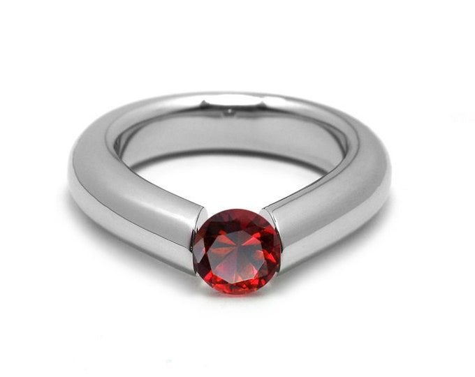 1ct Garnet Engagement Tension High Setting Ring in Stainless Steel by Taormina Jewelry