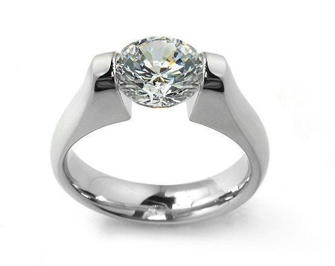 2ct White Sapphire Engagement Ring Tension Set in Stainless Steel