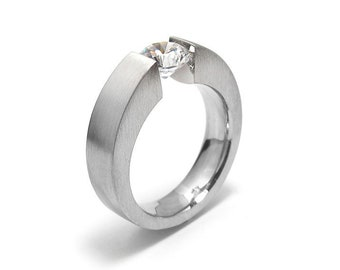 1ct White Sapphire Mens Two Tone Tension Set ring Modern Style