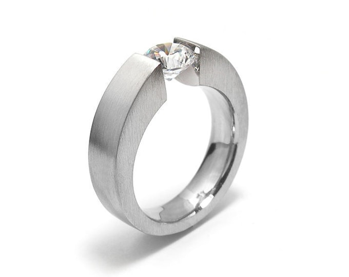 1ct White Sapphire Mens Two Tone Tension Set ring Modern Style by Taormina Jewelry