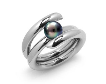 Contemporary Black Pearl High Tension Ring in Stainless Steel by Taormina Jewelry