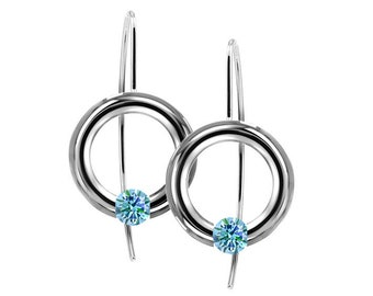 Blue Topaz Tension Set Drop Earrings in Stainless Steel by Taormina Jewelry