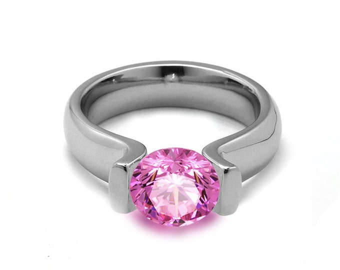 2ct Pink Sapphire Lyre shaped Tension Set Ring in Stainless Steel by Taormina Jewelry