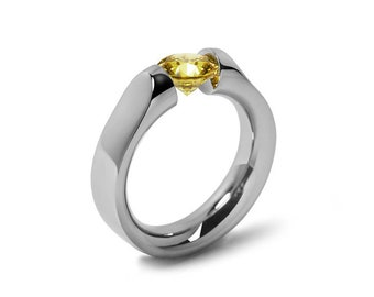 1ct Yellow Sapphire Tension Set Ring Comfort Fit Stainless Steel