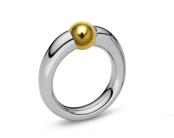 Two Tone Ring Tension Set Gold and Stainless Steel