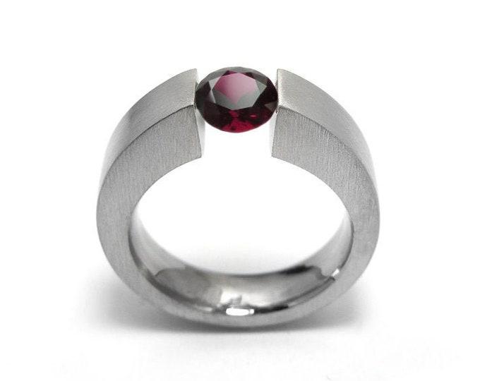 1ct Garnet Ring Tension Set Mounting in Stainless Steel