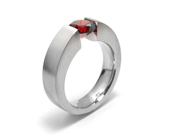 1ct Garnet Ring Tension Set Mounting in Stainless Steel by Taormina Jewelry