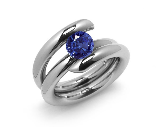 1 ct, 1.5 ct Blue Sapphire Engagement Ring Tension Set in Stainless Steel
