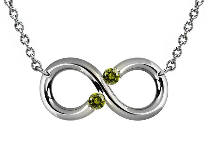Infinity Necklace with Two Tension Set Peridot in Stainless Steel